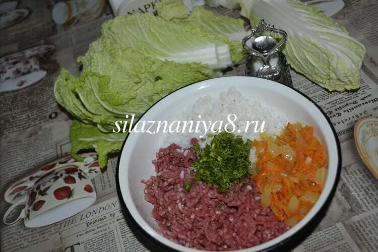 Голубцы из пекинской капусты с фаршем и рисом
