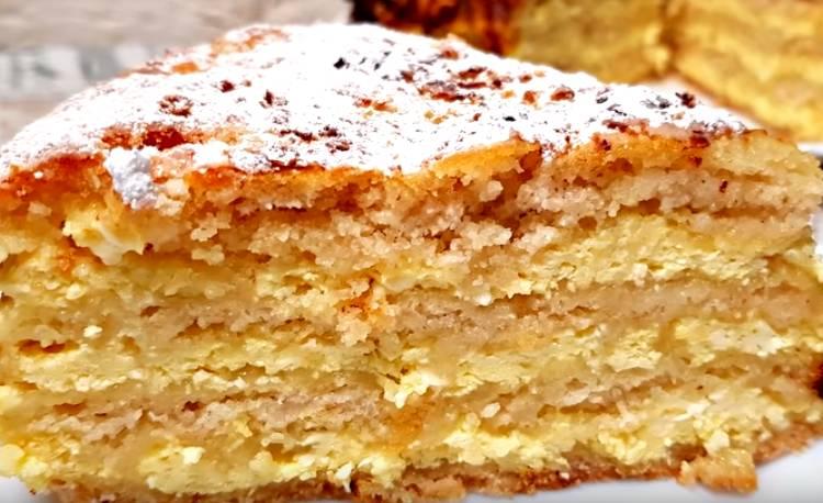насыпной пирог с творогом и молоком