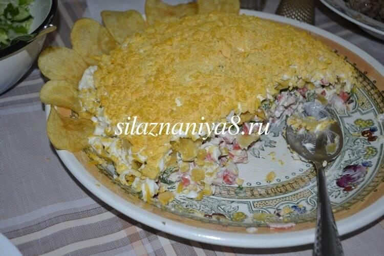 Салат подсолнух с чипсами