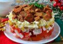 Салат Коррида с крабовыми палочками и помидорами