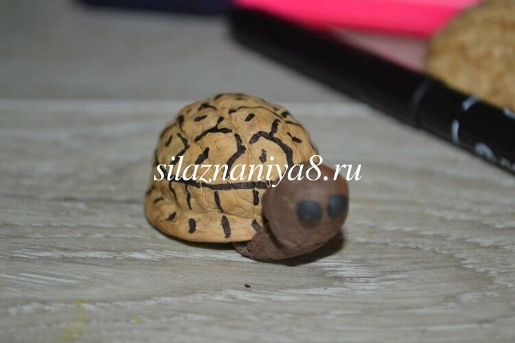 Поделки из ореховой скорлупы черепаха