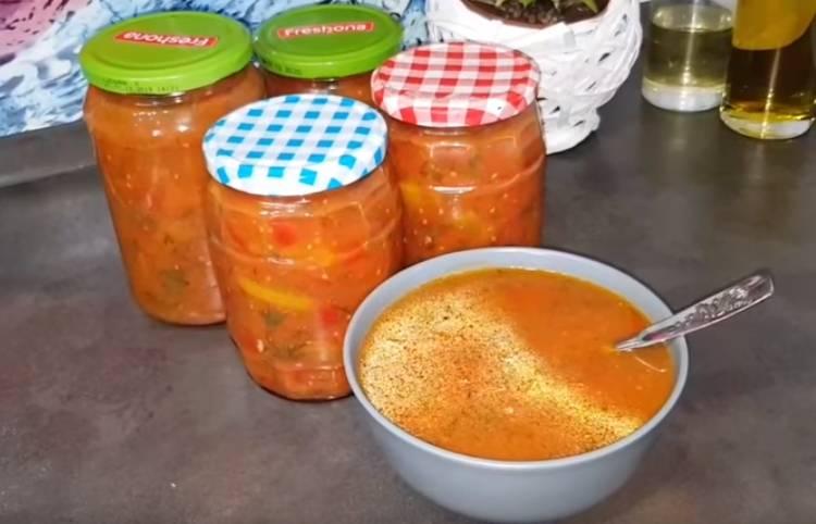 лечо из болгарского перца с чесноком и помидорами