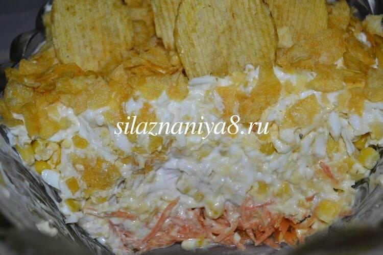 Салат парус с чипсами и морковью по корейски