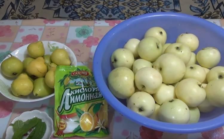 Грушёво-яблочный компот на зиму с мятой