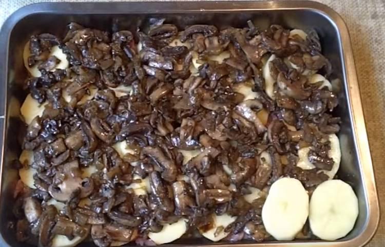 куриное филе с грибами и картошкой