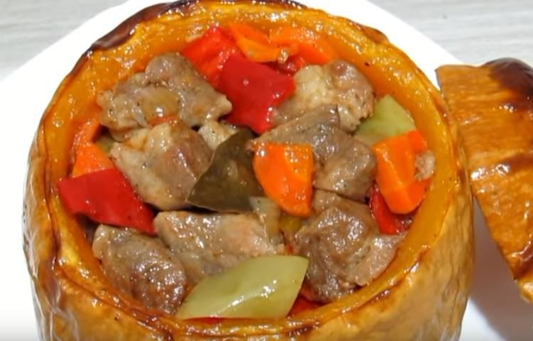 тыква в духовке с овощами и мясом