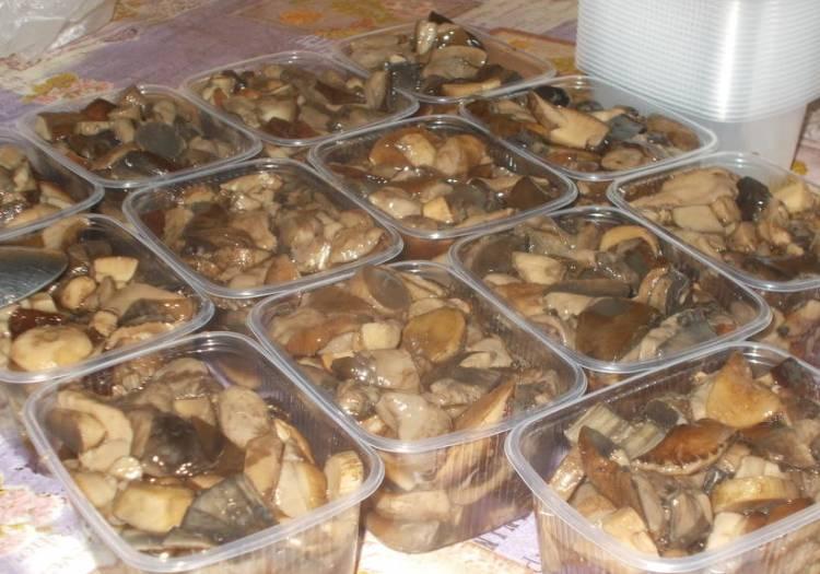 замороженные грибы в морозилке