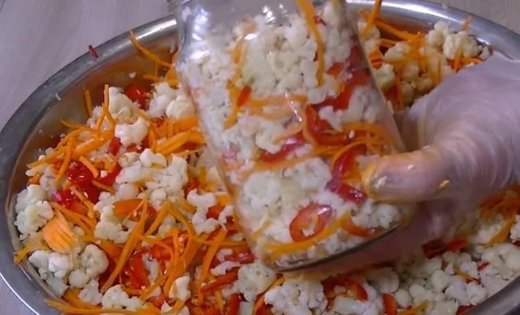 салат из цветной капусты по корейски