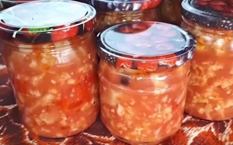 Салат из цветной капусты с помидорами и болгарским перцем на зиму