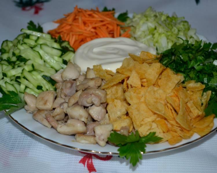 Салат Козел в огороде с мясом