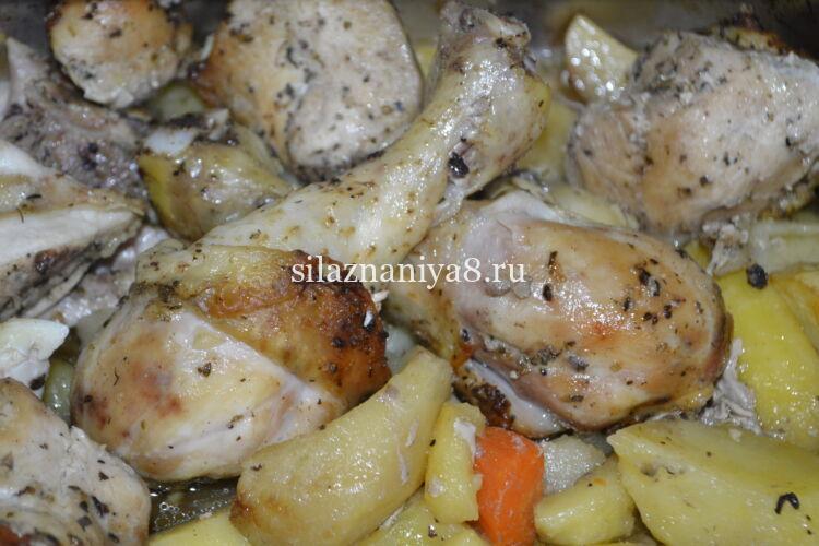 курица с картошкой кусочками в духовке