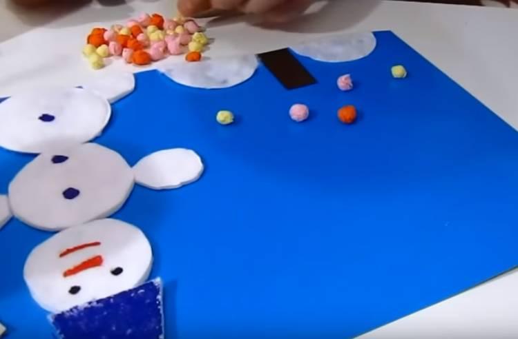 аппликация в детский сад из бумаги и ватных дисков