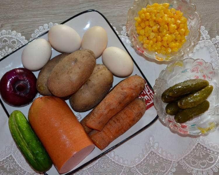 салат оливье с кукурузой