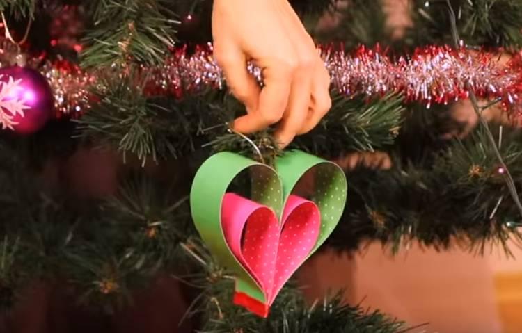 сердечко из бумаги на елку