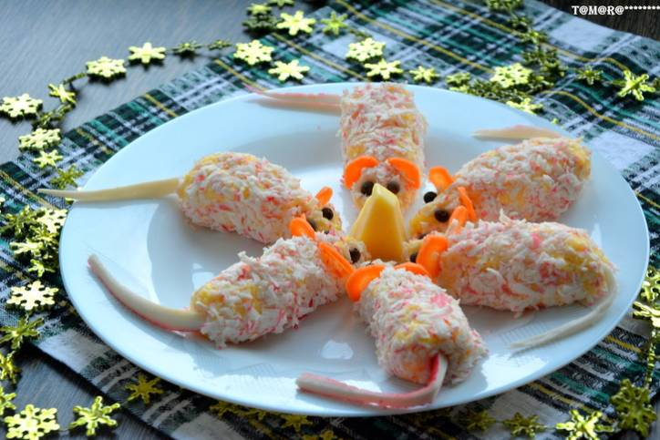 закуска из крабовых палочек мышки