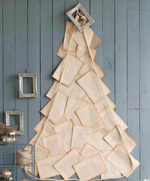 елка из бумаги на стене
