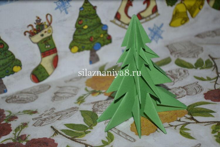 елка оригами из бумаги