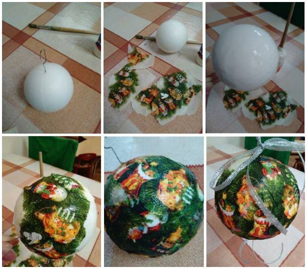 декупаж пластиковых шаров салфетками