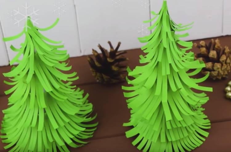 объемная елка конус из бумаги