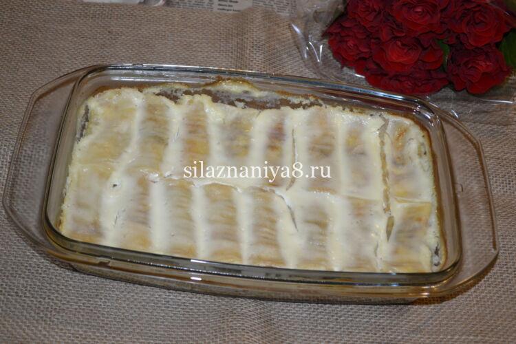 Блинчики с творогом запеченные в духовке со сметанной заливкой
