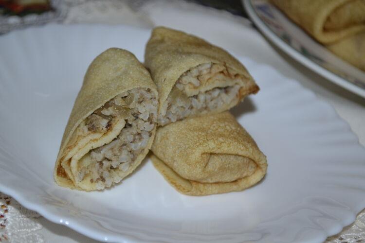 блины фаршированные печенью и рисом