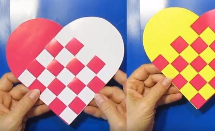 валентинка сердце из полосок бумаги