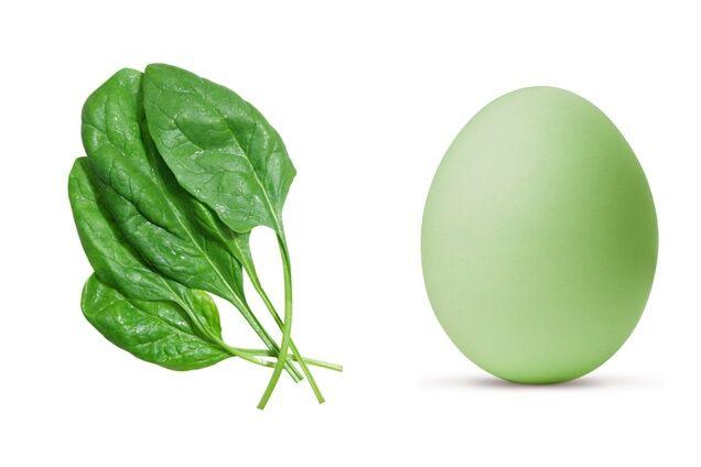 как покрасить яйца в шпинате