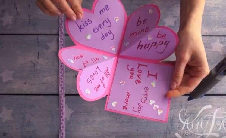 открытка валентинка из бумаги на 14