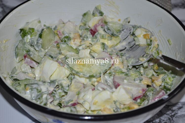салат из редиски с яйцом и огурцом и зеленым луком со сметаной