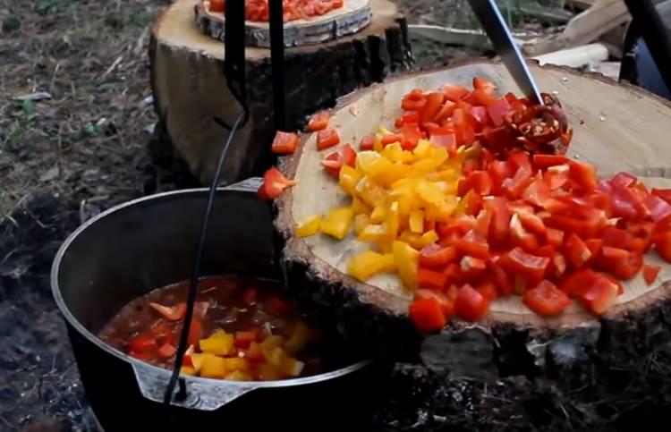 гуляш из свинины по-венгерски с картошкой и овощами
