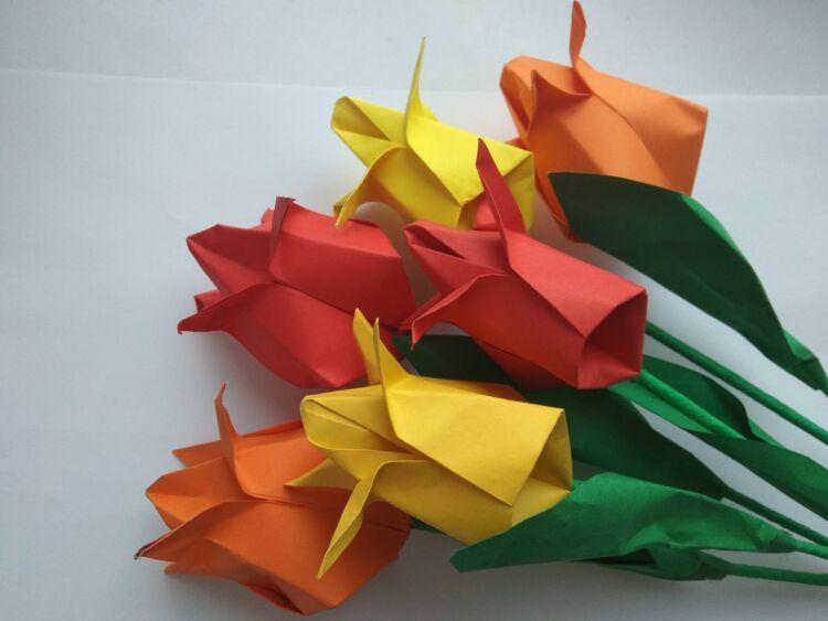 Тюльпан из бумаги своими руками легко и быстро без клея