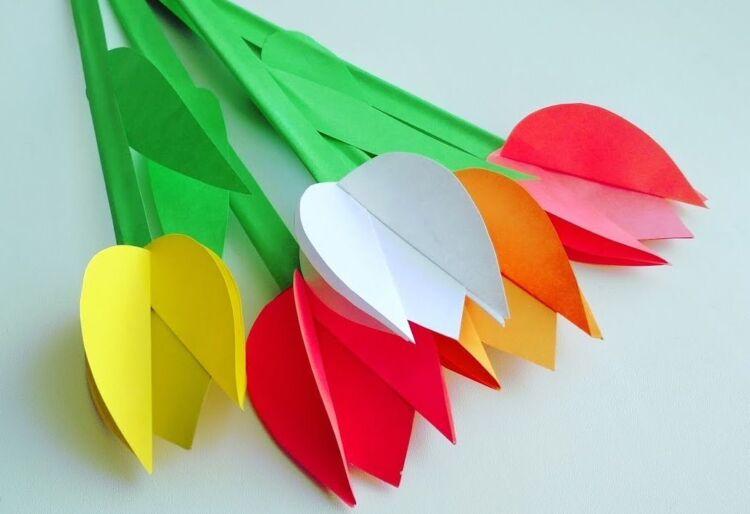 Тюльпан из бумаги своими руками легко и быстро