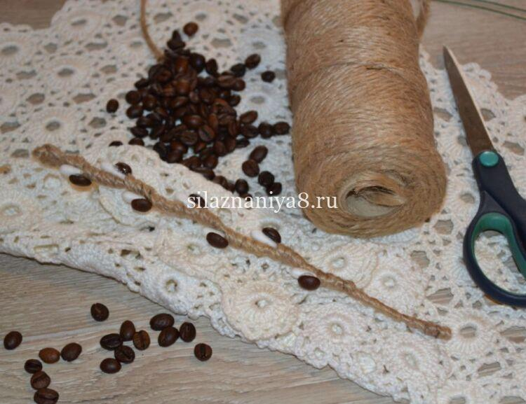 веточки вербы своими руками из шпагата и кофе