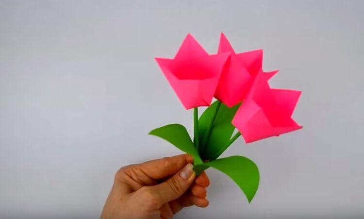 объемные тюльпаны из бумаги