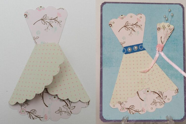 шаблон открытки платье