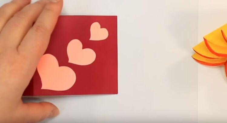 открытка своими руками из бумаги на день валентина