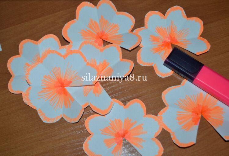 открытка 3 д цветы на 8 марта из бумаги
