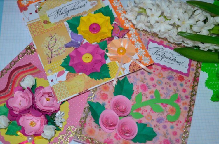 открытки к 8 марта своими руками из бумаги и картона