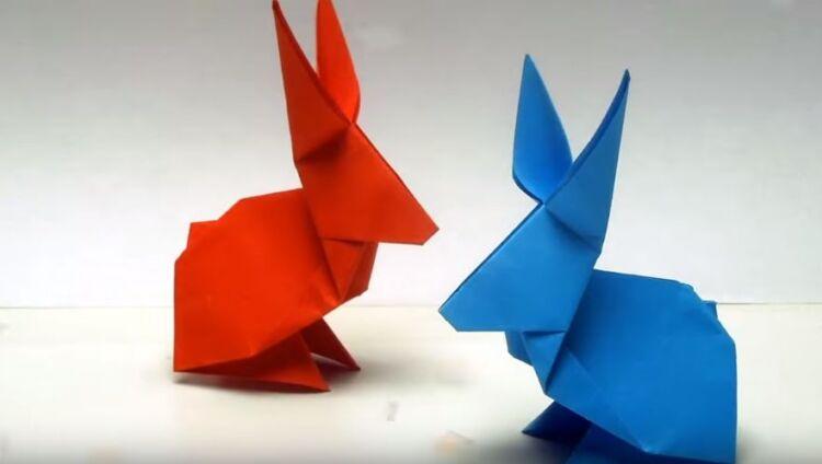 кролик зайчик оригами