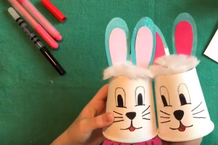 кролики из бумажного стакана