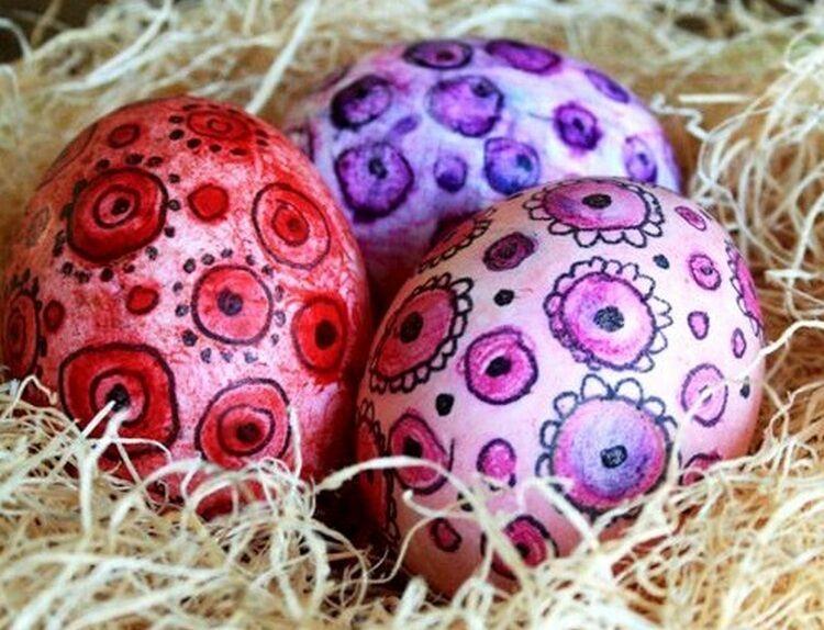 роспись яйца акварельными красками