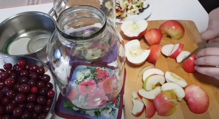компот из вишни с яблоками на зиму