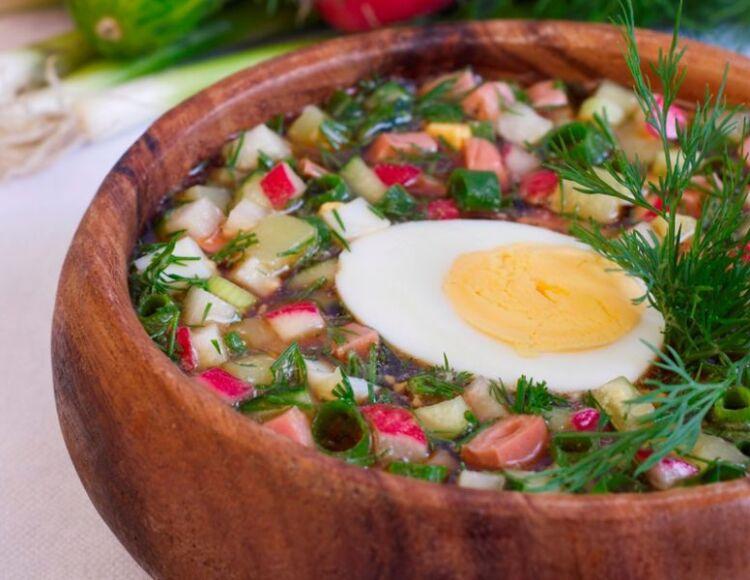 окрошка на квасе с колбасой и редиской рецепт