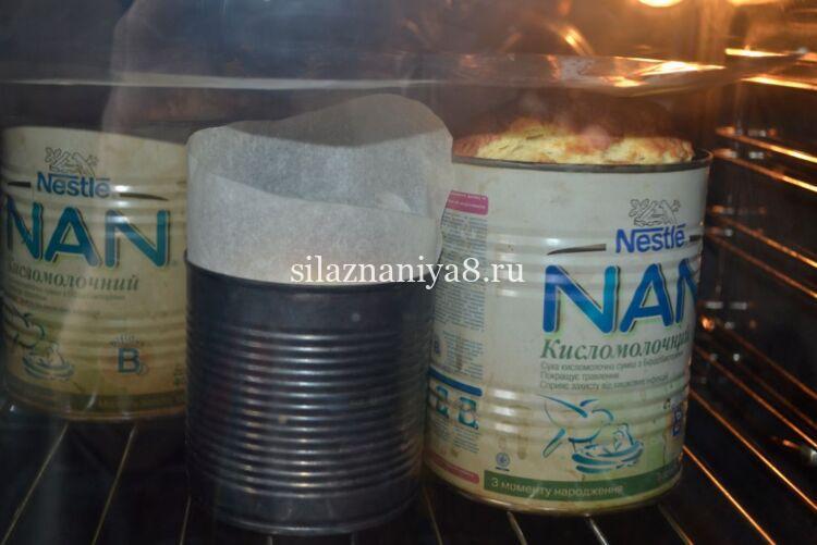 пасхальный кулич с цукатами и изюмом в духовке