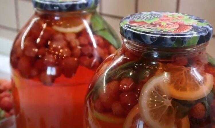 Компот из клубники на зиму на 3 литра с мятой и лимоном, как мохито