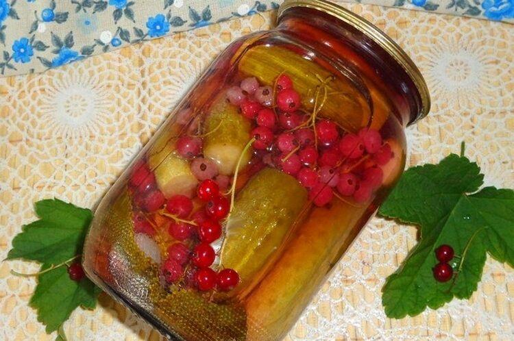 Огурцы с красной смородиной на зиму без уксуса на литровую банку