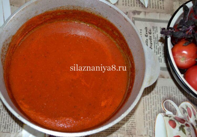 томатный соус с базиликом и чесноком на зиму без уксуса