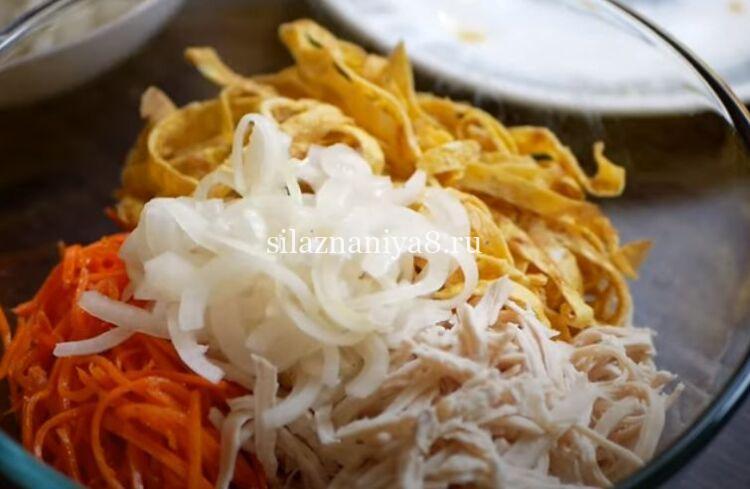 Салат Обжорка с корейской морковкой классический
