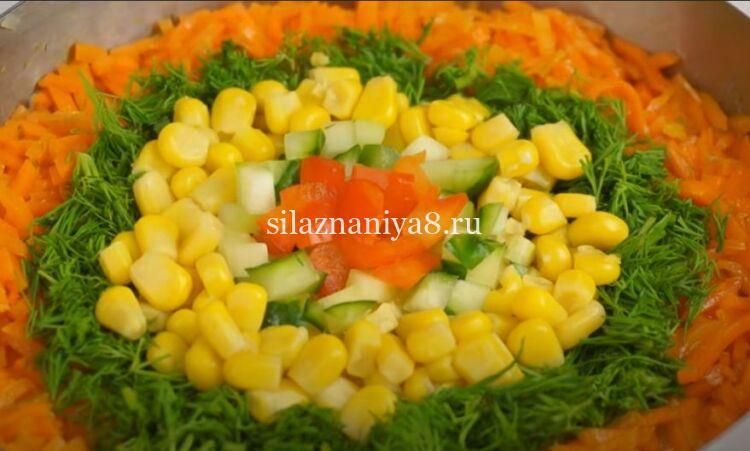 Салат из моркови по корейски с копченой курицей по простому рецепту