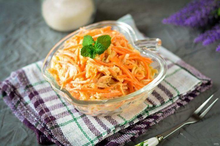 салат лисичка с корейской морковью